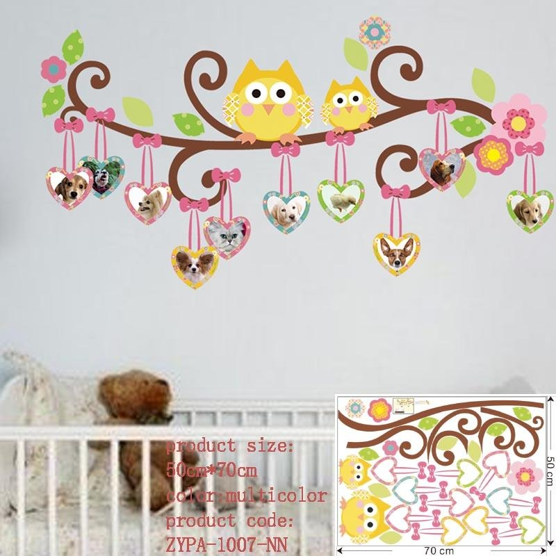 Wall Stickers For Kids Room Decorations Animal Decals Bedroom Intended For Owl Wall Art Stickers (View 2 of 20)