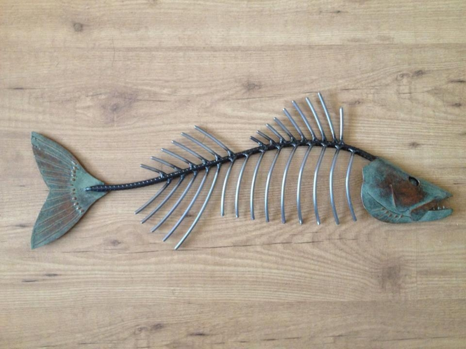 Walleye Metal Fish 26In Art Wall Sculpture Lake Cabin Cottage Intended For Fish Bone Wall Art (Image 20 of 20)