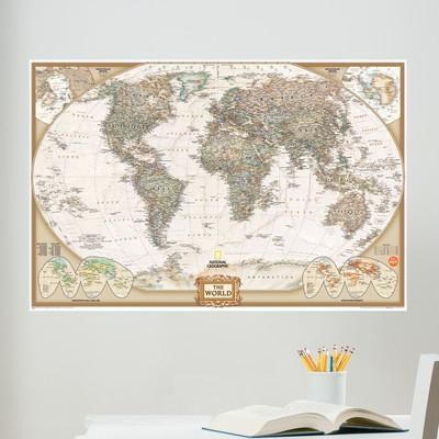 Wallpops! Wall Art Kit National Geographic World Map Wall Mural With Map Wall Art (Image 18 of 20)