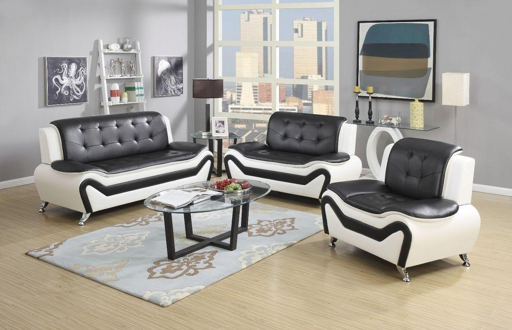 Wanda White/black Bonded Leather Sofa Set 3Pc, 2Pc, Sofa, Loveseat Regarding Black And White Sofas And Loveseats (Image 19 of 20)