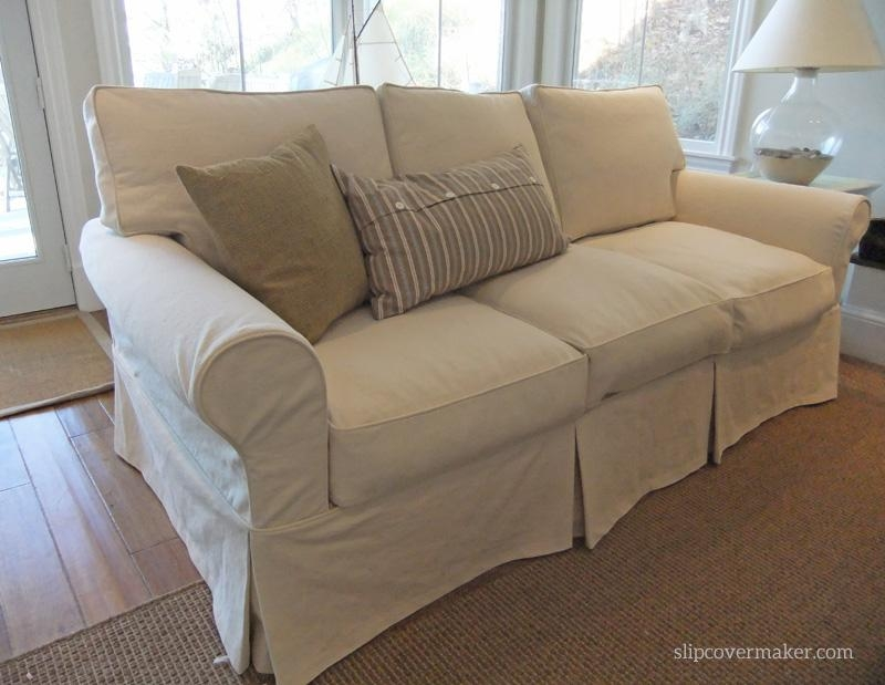 Washable Natural Denim Slipcovers For Lakeside Living | The With Denim Sofa Slipcovers (Image 20 of 20)