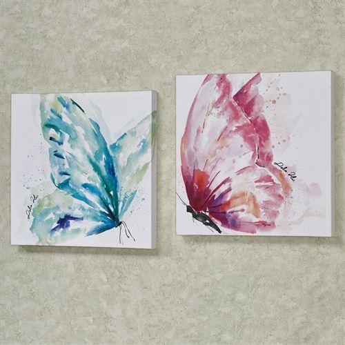 Watercolor Butterfly Canvas Wall Art Set Regarding Butterfly Canvas Wall Art (Image 20 of 20)