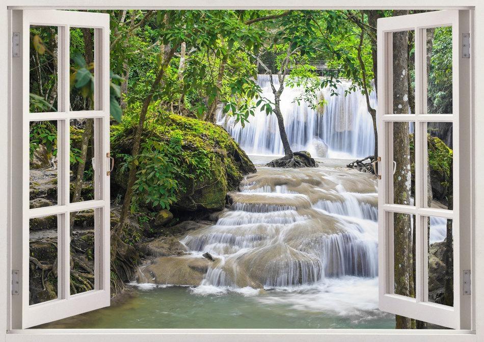Waterfall Wall Art 3D Window Waterfall Vinyl Wall Decal For Regarding Waterfall Wall Art (Image 19 of 20)