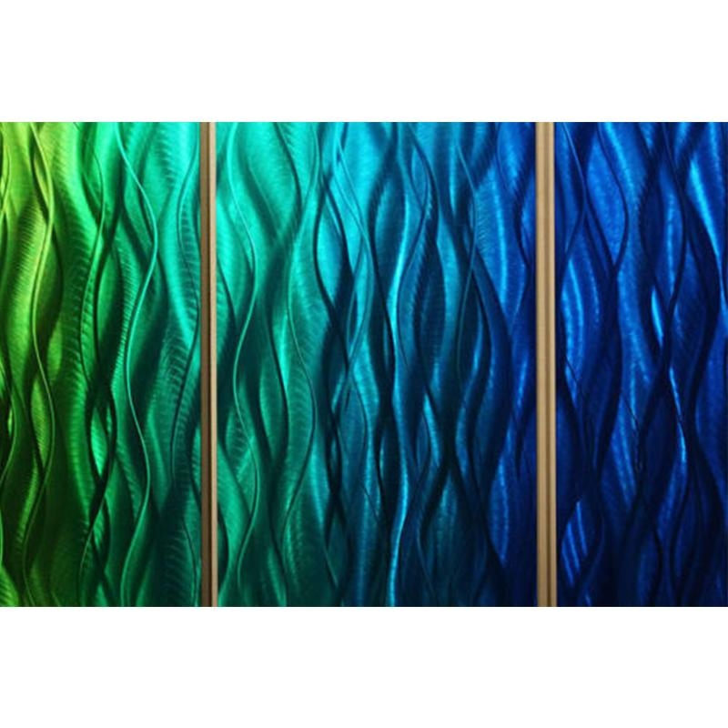 Wavelength 2 – Bright Green And Blue Abstract Metal Wall Painting Inside Lime Green Metal Wall Art (Image 19 of 20)