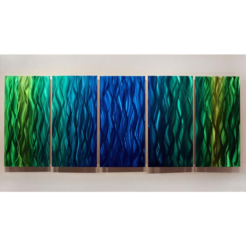 Wavelength 2 – Bright Green And Blue Abstract Metal Wall Painting Pertaining To Lime Green Metal Wall Art (View 10 of 20)