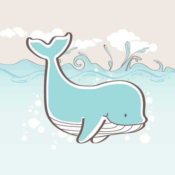 "Whale White Clouds Ocean"" Canvas Wall Art, Light Blue Regarding Kids Canvas Wall Art (Image 19 of 20)"