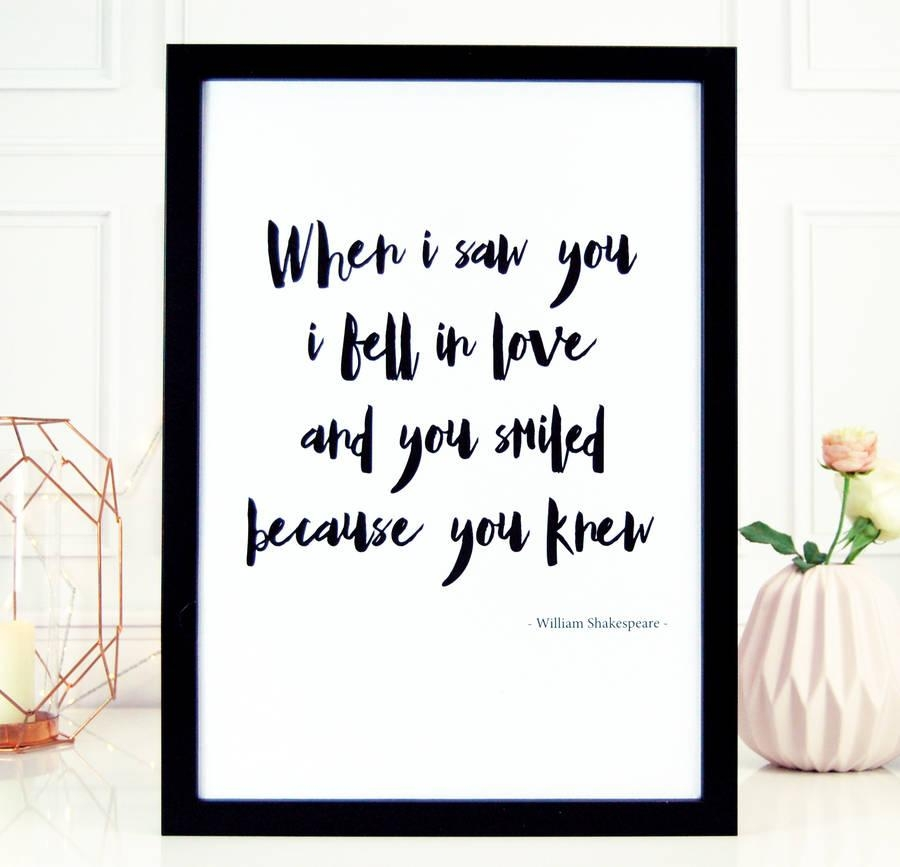 When I Saw You Love Shakespeare Wall Art Printmade With Love Regarding Shakespeare Wall Art (Image 18 of 20)