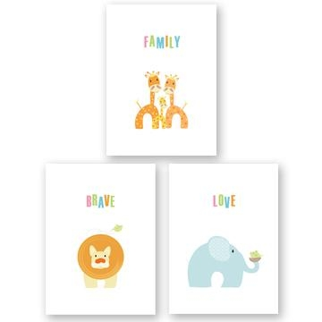 Whimsical Baby Animals Word Art  Set Of 3Dinky Cow Regarding Jungle Canvas Wall Art (Image 20 of 20)