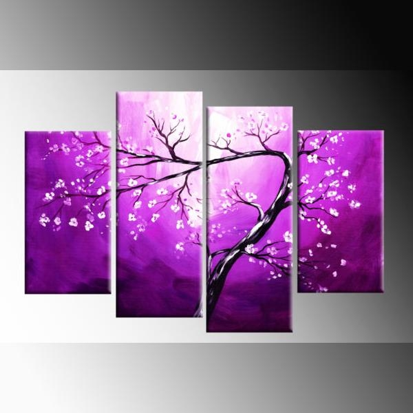 White Blossom On Purple Winding Blossom Tree Painting Canvas Wall Throughout Purple Canvas Wall Art (Image 20 of 20)