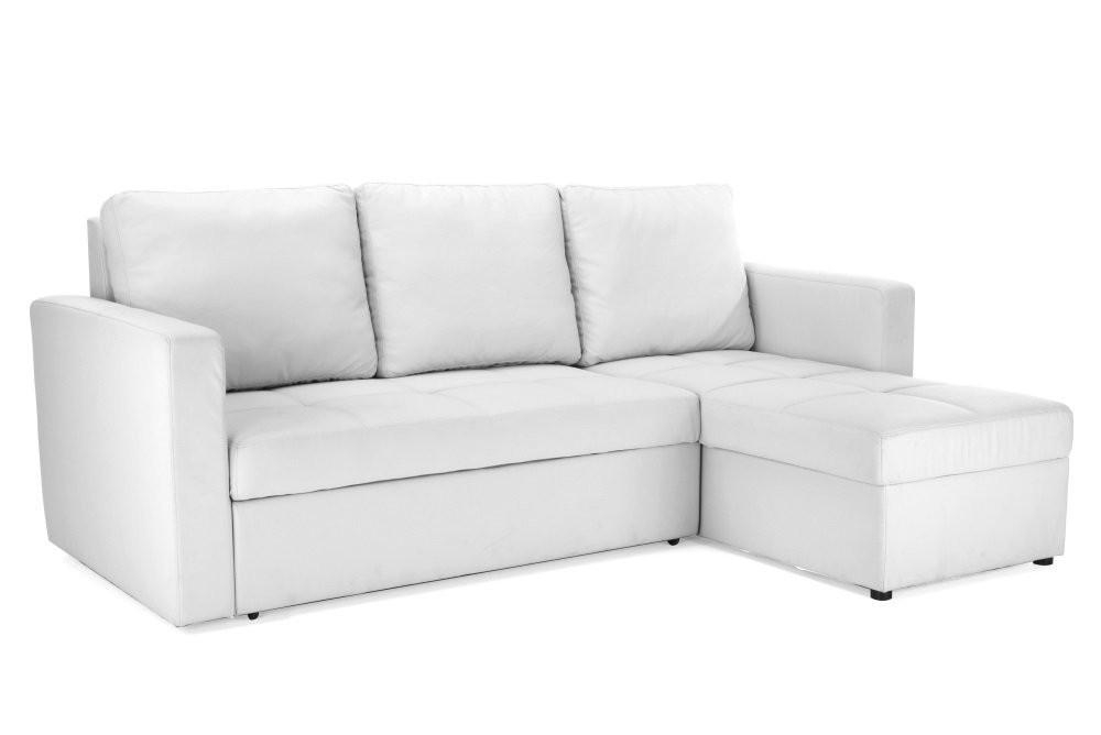 White Faux Leather Sectional Sofa Bed With Right Facing Storage Throughout Chaise Sofa Beds With Storage (Photo 9 of 20)
