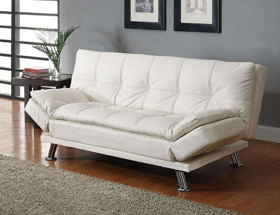 White Finish Leather Like In Sofas With Chrome Legs (Image 18 of 20)