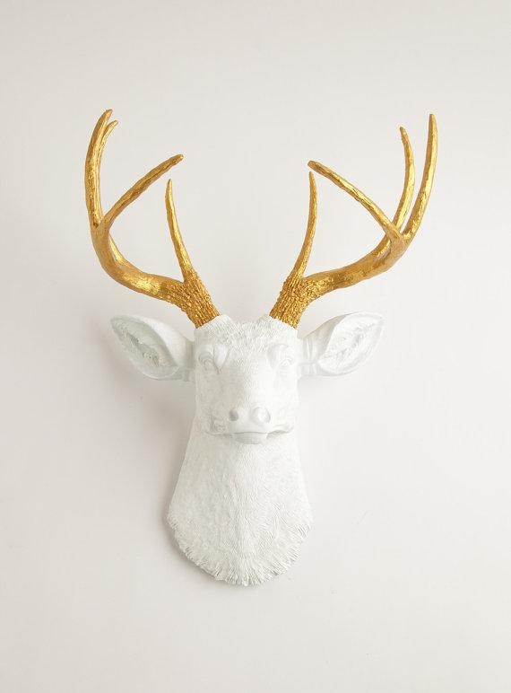 White & Gold Deer Head The Alfred White Resin Faux Deer For Stag Head Wall Art (Image 19 of 20)