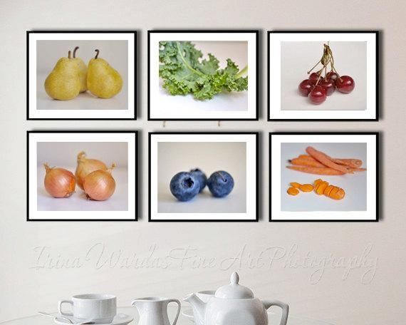 White Kitchen Wall Art Set Of 6 | Food Still Life Photo Culinary Art Regarding Kitchen Wall Art Sets (Image 20 of 20)
