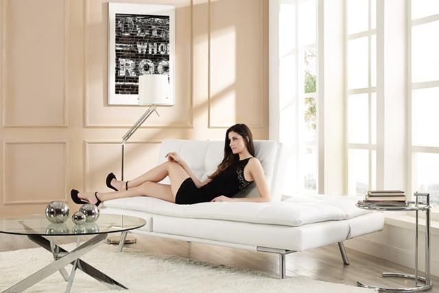 White Leather Futon Sofa Bed | Palermo Serta Euro Lounger | The Intended For Euro Loungers (View 8 of 20)