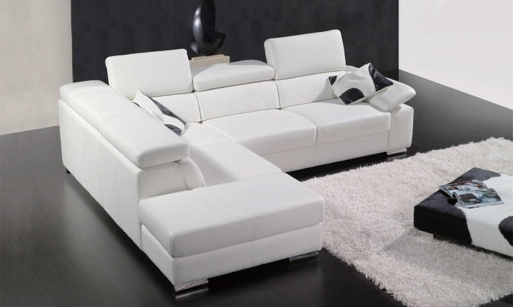 White Leather Sectional Sofa Set With Low Height Coffee Table And For Low Height Sofas (Image 18 of 20)