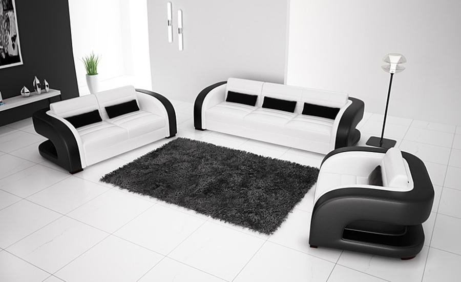 White Modern Leather Sofa Promotion Shop For Promotional White In Black And White Leather Sofas (Image 20 of 20)
