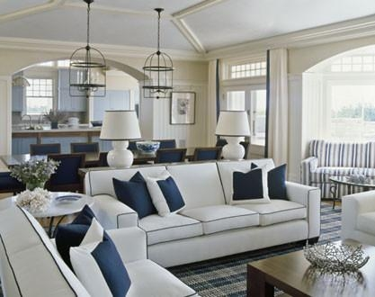 White Sofa With Navy Piping Pertaining To Blue And White Sofas (View 7 of 20)