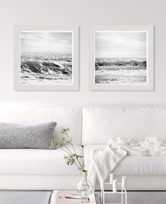 White Wall Art Sea Print Black And White Ocean Photography Intended For Black And White Wall Art Sets (Image 20 of 20)