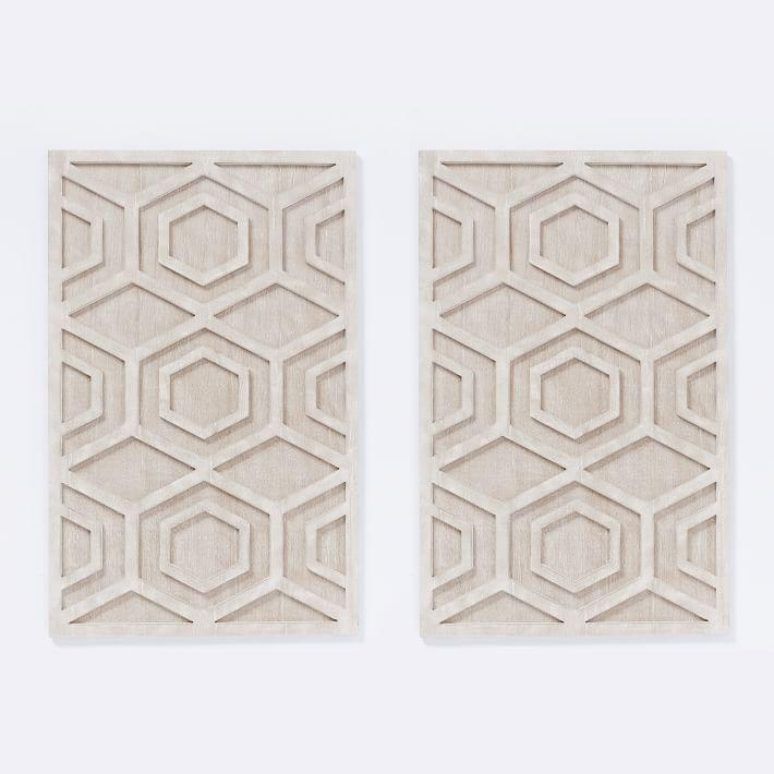 Whitewashed Wood Wall Art – Hexagon | West Elm With Regard To White Wooden Wall Art (Image 17 of 20)