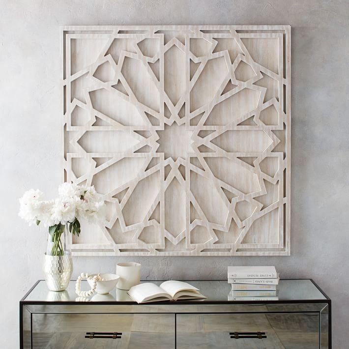 Whitewashed Wood Wall Art | West Elm In Large White Wall Art (View 3 of 20)