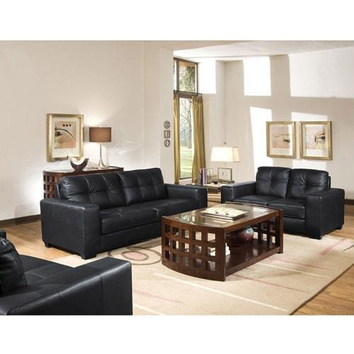Whitney Modern Black Leather Sofa And Loveseat Set – Free Shipping Inside Black Leather Sofas And Loveseat Sets (Image 20 of 20)