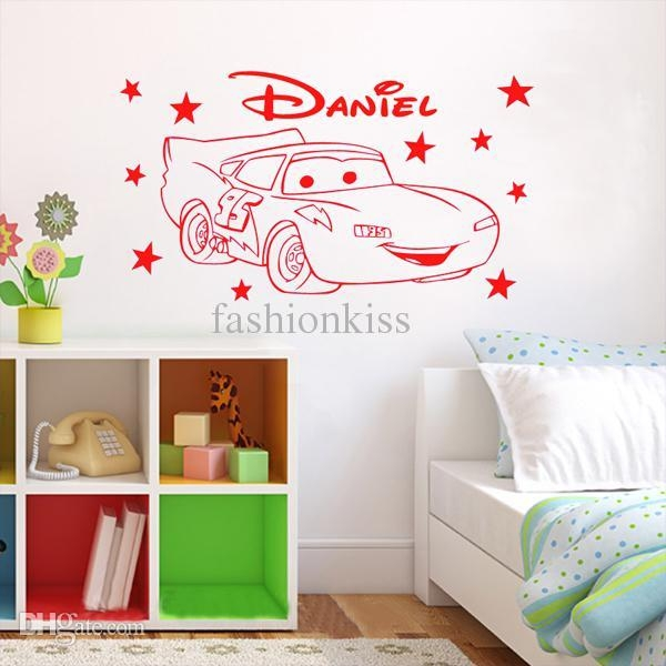 Wholesale Lightning Mcqueen,cars Mcqueen Stars Custom Name Vinyl Pertaining To Lightning Mcqueen Wall Art (View 12 of 20)