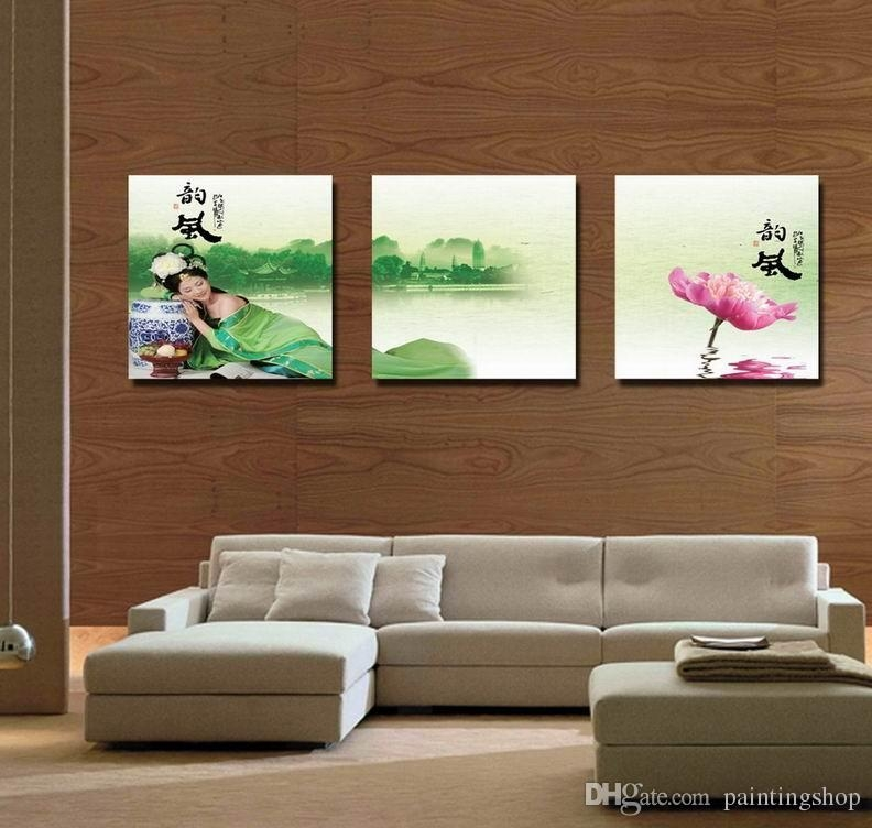 Wholesale Modern Feng Shui Wall Art Water Lily Landscape Painting Intended For Feng Shui Wall Art (View 8 of 20)