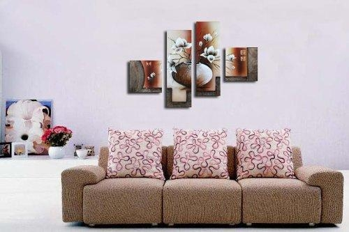 Wieco Art 4 Piece Elegant Flowers Stretched And Framed Hand Within 4 Piece Wall Art (Image 20 of 20)