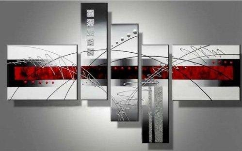 "Wieco Art – Extra Large Size 5 Piece ""Perfect White Lines"" Modern With Extra Large Framed Wall Art (Image 20 of 20)"