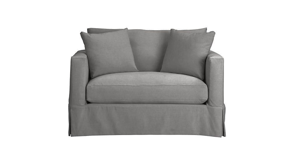 Willow Grey Twin Sofa Sleeper With Air Mattress | Crate And Barrel Pertaining To Crate And Barrel Sofa Sleepers (View 14 of 20)