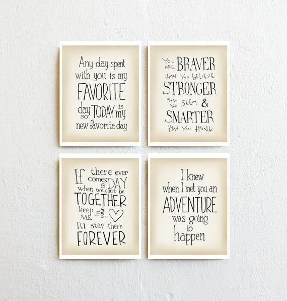 Winnie The Pooh Print Set Of 4 Quotes Wall Art Baby Girl Throughout Winnie The Pooh Nursery Quotes Wall Art (Image 19 of 20)