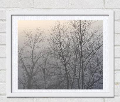 Winter Nature Photo Print | Trees In Fog | Grey Wall Art | Neutral Art For Neutral Wall Art (View 12 of 20)