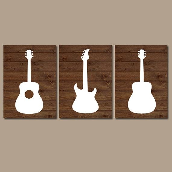 Wood Guitar Wall Art Music Theme Nursery Boy Bedroom Regarding Music Theme Wall Art (View 8 of 20)