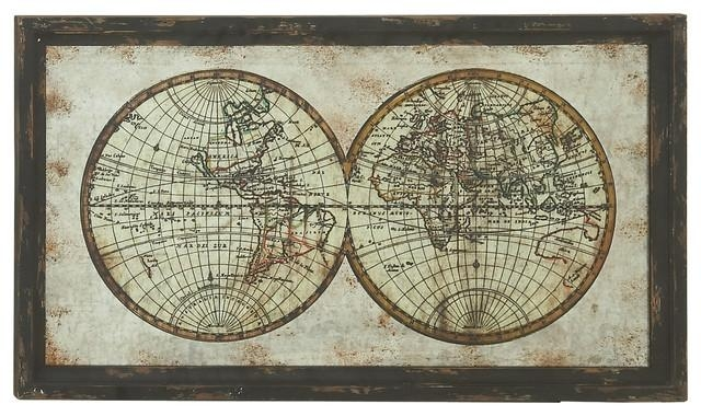 "Wood Metal Framed Wall Map 39""w, 22""h – Traditional – Prints And For Metal Framed Wall Art (Image 20 of 20)"
