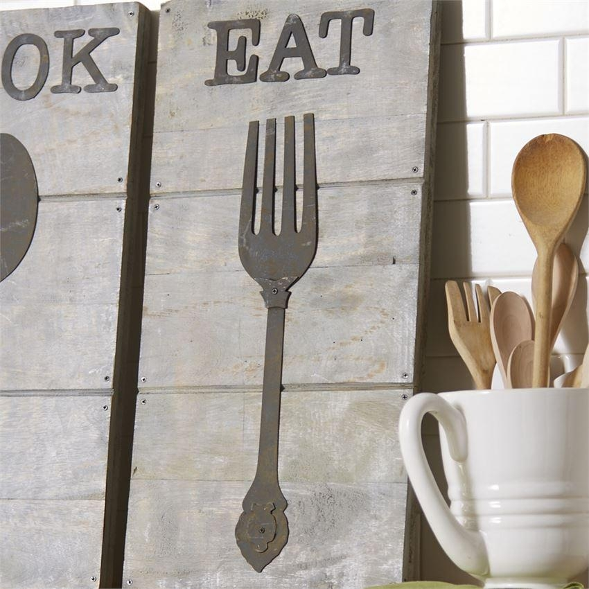 Wood & Metal Utensil Wall Art | Mud Pie | Mud Pie With Regard To Large Utensil Wall Art (Image 20 of 20)