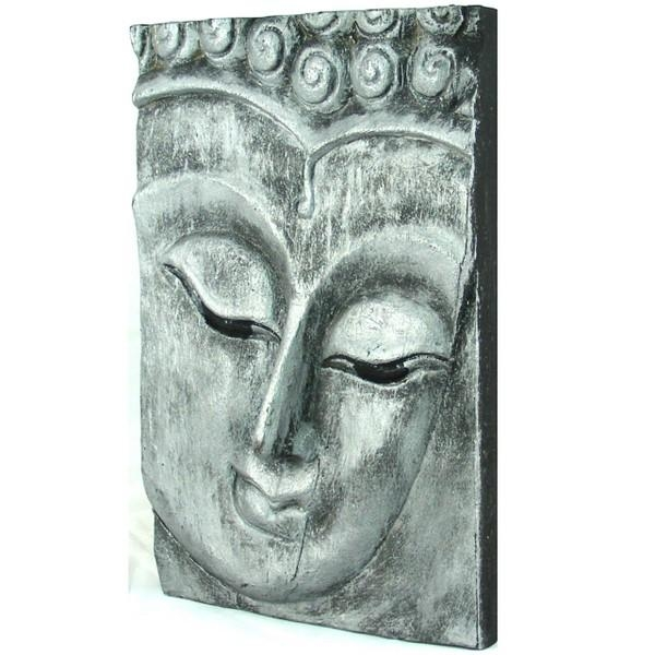 Wooden Buddha Face Wall Art Panel 25Cm X 18Cm 10X7 Old Silver Inside Silver Buddha Wall Art (View 20 of 20)