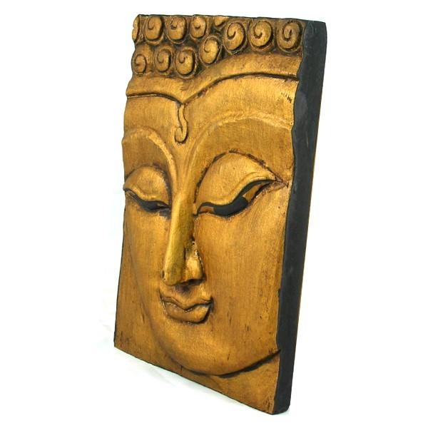 Wooden Buddha Face Wall Art Panel 25Cm X 18Cm 10X7 Thai Temple Gold In Buddha Wood Wall Art (Image 16 of 20)