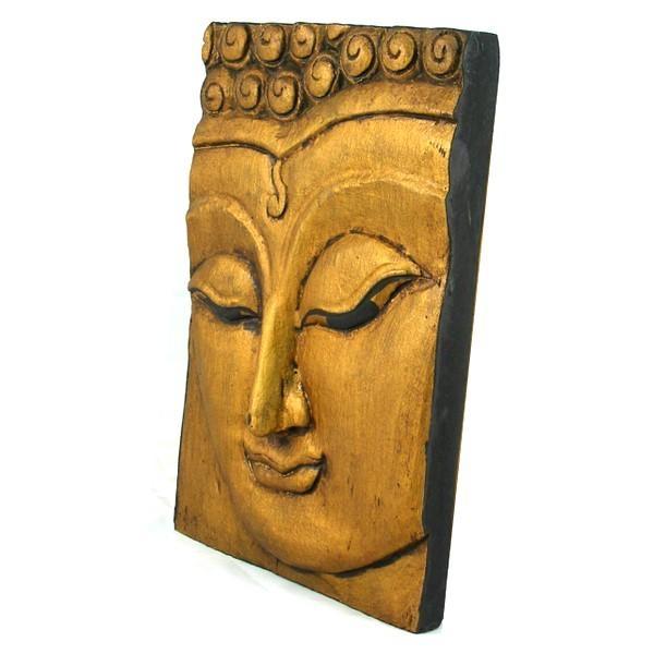Wooden Buddha Face Wall Art Panel 25Cm X 18Cm 10X7 Thai Temple Gold Throughout Buddha Wooden Wall Art (Image 14 of 20)