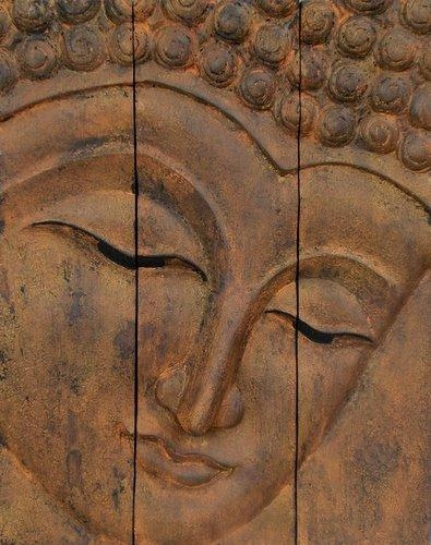 Wooden Buddha Face Wall Art Panel 50Cm X 40Cm 20X16 Rustic Gold Brown Pertaining To Buddha Wooden Wall Art (Image 15 of 20)