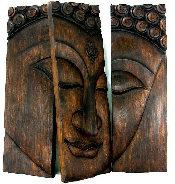 Wooden Buddha Face Wall Art Panel 60Cm X60Cm 24X24 Dark Wood Throughout Dark Wood Wall Art (View 17 of 20)