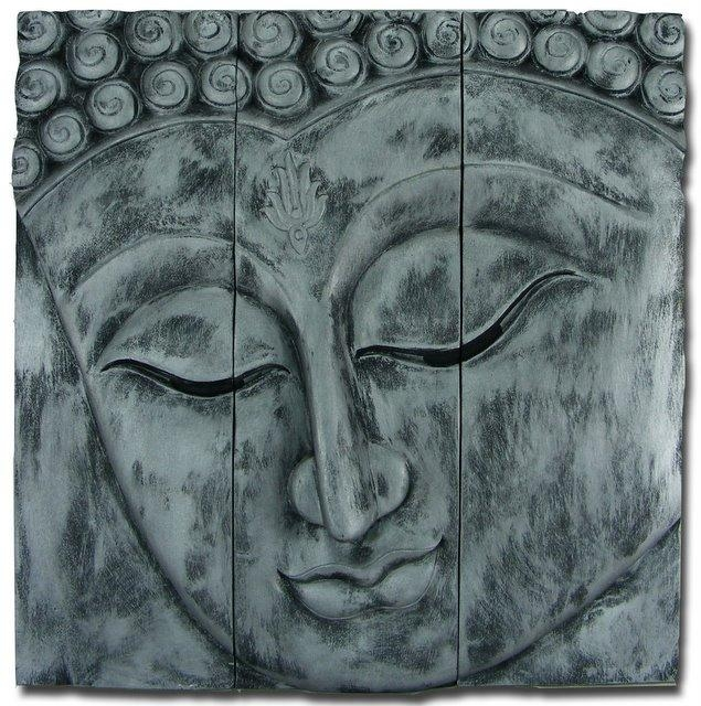 Wooden Buddha Face Wall Art Panel 60Cm X60Cm 24X24 Old Silver Intended For Silver Buddha Wall Art (View 9 of 20)