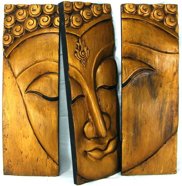 Wooden Buddha Face Wall Art Panel 60Cm X60Cm 24X24 Thai Temple Gold Intended For Buddha Wooden Wall Art (View 11 of 20)