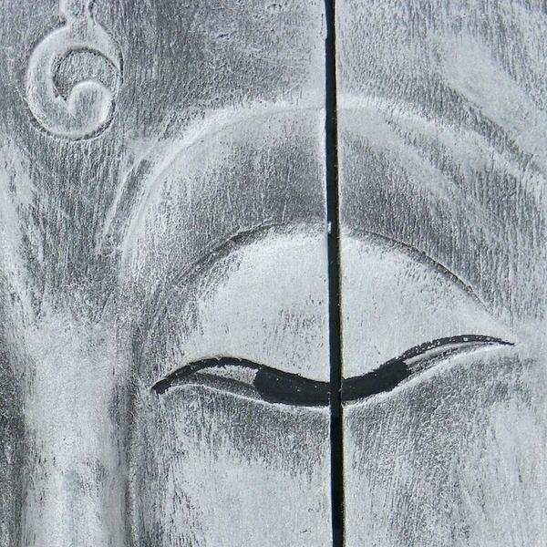 Wooden Buddha Head Wall Art Panel 60Cm X40Cm 24X16 Old Silver Throughout Silver Buddha Wall Art (View 15 of 20)