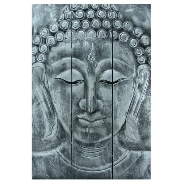 Wooden Buddha Head Wall Art Panel 60Cm X40Cm 24X16 Old Silver With Silver Buddha Wall Art (View 7 of 20)