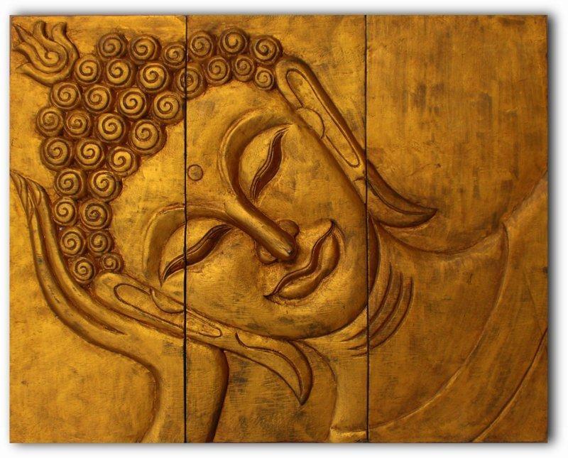 Wooden Reclining Buddha Face Wall Art Panel 50Cm X 40Cm 20X16 Thai Intended For Buddha Wooden Wall Art (Image 19 of 20)