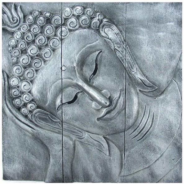 Wooden Reclining Buddha Wall Art Panel 60Cm X 60Cm 24 X24 Old Silver Inside Silver Buddha Wall Art (Image 19 of 20)