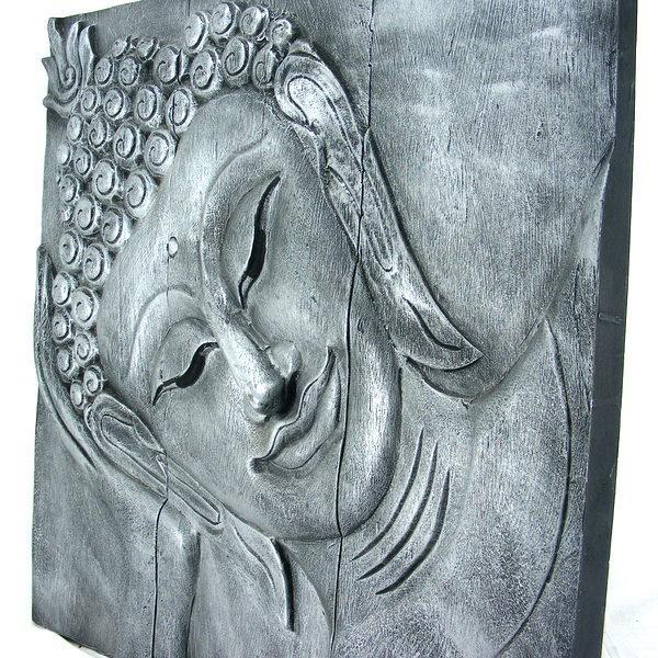 Wooden Reclining Buddha Wall Art Panel 60Cm X 60Cm 24 X24 Old Silver Regarding Silver Buddha Wall Art (Image 20 of 20)