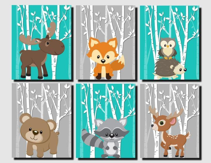 Woodland Animals Nursery Art Prints Set Pastel Colors Baby Girl Regarding Kids Canvas Wall Art (Image 20 of 20)