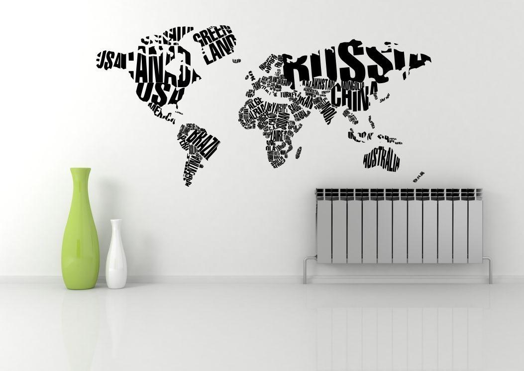 World Map Atlas Quote Abstract Wall Art Sticker Decal Mural For Atlas Wall Art (View 14 of 20)