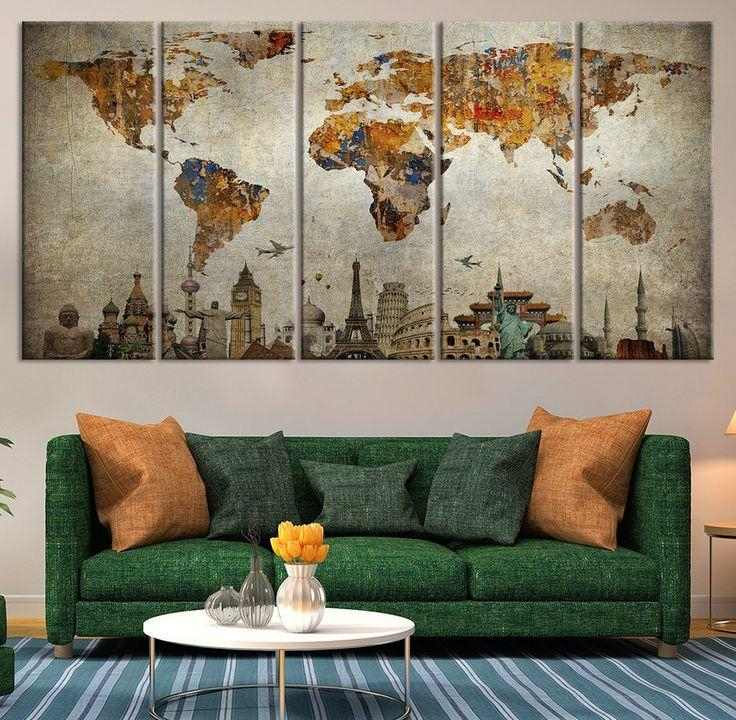 World Map Posters Popular World Map Wall Art – Home Decor Ideas With Regard To Map Wall Art (Image 19 of 20)